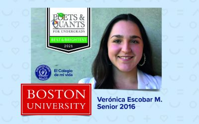 Poets&Quants  Award Best & Brightest Business Major of 2021 for our senior 2016 Verónica Escobar